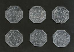 DEUTSCHLAND / GERMANY - NURNBERG STRASSENBAHN - 20 Pfennig (Monuments) - Lot Of 6 Tokens - Monetari/ Di Necessità