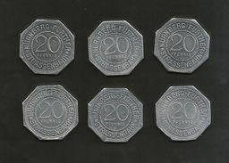 DEUTSCHLAND / GERMANY - NURNBERG STRASSENBAHN - 20 Pfennig (Monuments) - Lot Of 6 Tokens - Monétaires/De Nécessité