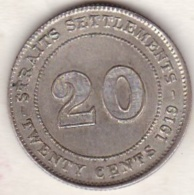 Straits Settlements , 20 Cents 1919 . George V. Argent. KM# 30a - Malaysie