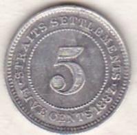 Straits Settlements , 5 Cents 1887 . Victoria. Argent. KM# 10 - Malesia