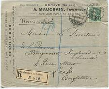1735 - 50 Rp. Einschreibebrief Nach ENGLAND - Sensationell Illustrierte Rückseite - Lettres & Documents