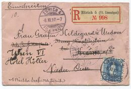 1736 - 50 Rp. Einschreibe-Zierbrief Nach WIEN Mit Vollstempel ZÜRICH 8.XI.97 - 1882-1906 Wappen, Stehende Helvetia & UPU