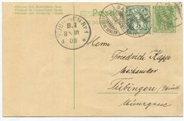 1738 - 5 Rp. Tellknabe Ganzsache Mit Wertziffer Zusatzfrankatur Nach DEUTSCHLAND - 1882-1906 Armoiries, Helvetia Debout & UPU