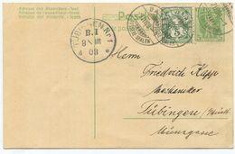 1738 - 5 Rp. Tellknabe Ganzsache Mit Wertziffer Zusatzfrankatur Nach DEUTSCHLAND - 1882-1906 Wappen, Stehende Helvetia & UPU