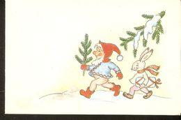 K2. USSR Latvia Greetings Unposted Postcard New Year Christmas Santa Gnome Dwarf Tomte Hare Rabbit Illustration By Birze - Noël