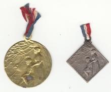 2 Insignes En Métal Embouti Aidez Nous à Les Sauver Par Lalique - Insignes & Rubans