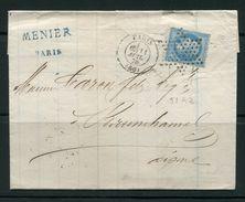 Lettre De 1870 De PARIS 60 Pour BRUNEHAMEL 2- Timbre Y&T N°29B- Etoile Muette - 1863-1870 Napoléon III Lauré