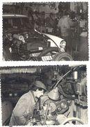 2 Photos Garage, Mécanicien Dans Son Atelier, Automobile Citroën Ds - Métiers