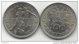 100 ESCUDOS - KM# 629 - WORLD CUP SOCCER - MEXICO - 1986 - COPPER-NICKEL - UNC - Portugal