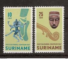 Suriname 479-480 MNH ; 20 Jaar Stichting Cultureel Centrum 1967 - Surinam ... - 1975