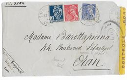 1944 - RARE TIMBRE D'ALGERIE UTILISE En CORSE à La LIBERATION + MERCURE / DEVANT De LETTRE CENSURE De ST FLORENT => ORAN - Marcophilie (Lettres)