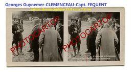 CLEMENCEAU-FEQUENT-GUYNEMER-Pilote-Aviation-Fliegerei-Carton Stereoscopique-Periode Guerre 14-18-1 WK-MILITARIA - Airmen, Fliers