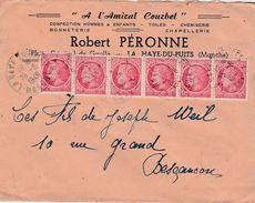 """Enveloppe Commerciale 1949 / """"A L'Amiral Courbet"""" / Robert PERONNE / Confection / 50 La Haye Du Puits / Manche - Maps"""
