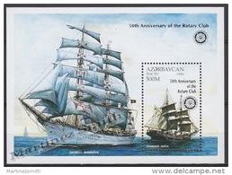 Azerbaidjan - Azerbaijan - Azerbaycan 1997 Yvert BF 35,  Sailing Boat, Ships, Overprinted Rotary 50th Ann. - MNH - Azerbaïjan