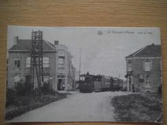 L'arrivée Et Arrêt Du Tram Vers 1920-1930 Très Rare - Saint-Georges-sur-Meuse