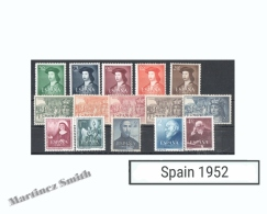 Complete Year Set Spain 1952 - 15 Values - Yv. 826-833 / Ed. 1106-1118 MNH - Años Completos