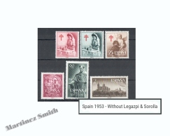 Complete Year Set Spain 1953 - 6 Values - Missing Celebrities 1953 (Legazpi & Sorolla) - MNH - España