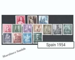 Complete Year Set Spain 1954 - 14 Values - Yv. 840-853 / Ed. 1129-1142 MNH - España