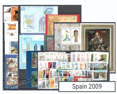 Complete Year Set Spain 2009 - 59 Values + 11 BF + 1 Booklet - Yv. 4079-4170/ Ed. 4446-4523, MNH - Años Completos