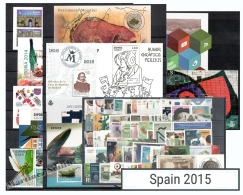 Complete Year Set Spain 2015 - 64 Values + 12 BF + 2 Booklet - Yv. 4636-4729/ Ed. 4924-5012, MNH - Años Completos