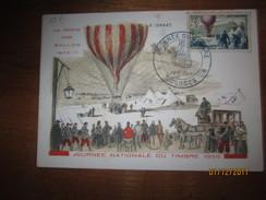 LE / C.M. Journée Du Timbre 19 Mars 1955 - BOURGES - La Mposte Par Ballon Monté  - Dessin De Raoul Serres - FDC