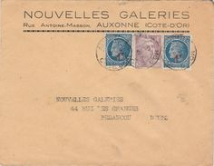 """Enveloppe Commerciale / """"Nouvelles Galeries"""" / 21 Auxonne / Timbres Céres Surchargé Et Gandon - Maps"""