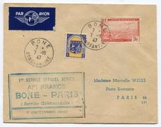 RC 6338 FRANCE ALGERIE 1947 1er VOL BONE PARIS COURRIER RETARDÉ AVION DETRUIT LETTRE COVER - Algeria (1924-1962)