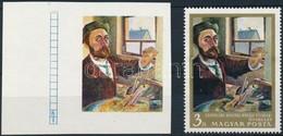 (*) 1967 Festmények III. 3Ft Vágott  ívszéli Bélyeg Arany és Fekete Színnyomat Nélkül. A Szakirodalomban Ismeretlen. / M - Stamps