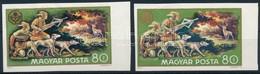 ** 1971 Vadászati Világkiállítás 80f Vágott Bélyeg Fekete Színnyomat Nélkül, Eddig Nem Katalogizált Tévnyomat + Támpéldá - Stamps