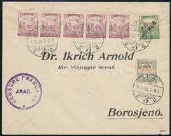 1919 Júl. 07. Vegyes Bérmentesítésű Távolsági Levél 3f (5 Db) Szeged Kiadású + Arató/Köztársaság 5f + Sürgős 2f Arad Kia - Stamps