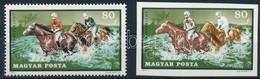(*) 1971 Lósport 80f Vágott Fázisnyomat A Piros és A Fekete Szín Hiányával, Nagyon Ritka! + Támpéldány - Stamps