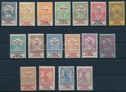 * 1914 Hadisegély Szép Falcos Sor, A 35f 1 Sorral Magasabb, Számos Szedési Hiba (főleg 60f) és Felülnyomat Eltolódások ( - Stamps