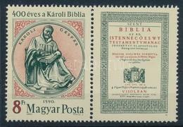 ** 1990 400 éves A Károli Biblia Szelvényes Bélyeg 'A MAGYAR POSTA AJÁNDÉKA' Hátoldali Felirattal (30.000) - Stamps