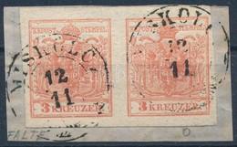 1850 3kr HP III. Pár Kis Papírránccal ,,MISKOLCZ' - Stamps