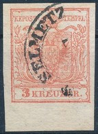 O 1850 3kr HP III. 6,5 Mm Alsó ívszéllel ,,SELMETZ(BÁNYA)' - Stamps