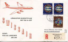 SWITZERLAND -  1958 SWISSAIR - GENEVA TO RIO DE JANIRO      FDC1897 - Airplanes