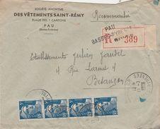 Enveloppe Commerciale Recommandée / 1948 / Vêtements Saint-Rémy / Place Des Sept Cantons / 64 Pau - Maps