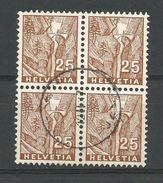 LIQUIDATION TOTALE : 1934 - ZU 199 - Mi 275 - Yv 275 - Bloc De 4 - Oblitérés (o) - Suisse