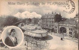 CPA Mille Bons Souhaits De Perpignan (animée) PO 102 - Perpignan