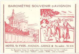Cpa Publicitaire - Baromètre Souvenir D'Avignon, Hôtel St-Yves ( Pont, Comtadines ) - Publicité