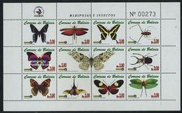 Bolivia 2002 Butterflies And Insects 12v M/s, (Mint NH), Nature - Butterflies - Insects - Bolivia