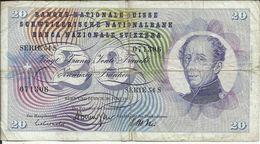 SUISSE , SCHWEIZERISCHE , SVIZZERA, 20 Franken , 30.06.1967 , N° World Paper Money : 46 O - Suiza