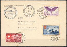 LIQUIDATION TOTALE : 1939-de ZURICH à KARLRUHE - 29/04/1939 - EUROPAFLUG SÜD BELLE LETTRE  VOL SPECIAL - Lettres & Documents