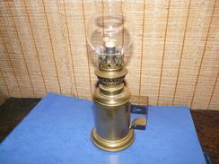 Lampe Pétrole En Cuivre Et Laiton Avec Mèche Et Verre - Lamps
