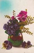 Carte Postale Ancienne Fantaisie - Fleurs - Mimosas - Violettes - Roses - Pensées - Phantasie