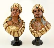 Cca 1900 Egzotikus Pár ( 2db Büszt), Festett Terrakotta, Jelzett (depose), Hibátlan, M: 37 Cm (2×)/ Teracotta  Orientali - Ceramics & Pottery