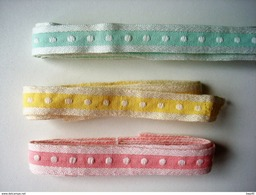Galon Coton Pastel 3 Tons Vintage Largeur 12 Mm Longueur + De 14 Mètres. - Dentelles Et Tissus