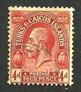 TURKS AND CAICOS BRITISH 4 PENCE RED KGV HEAD  1935 SG111a USEDH READ DESCRIPTION !! - Turks & Caicos