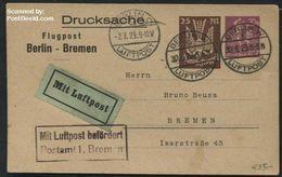 Germany, Empire 1923 Airmail Postcard Berlin-Bremen, (Postal History), Stamps - Deutschland
