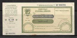 Pakistan ONE RUPEE Postal Order - Assegni & Assegni Di Viaggio